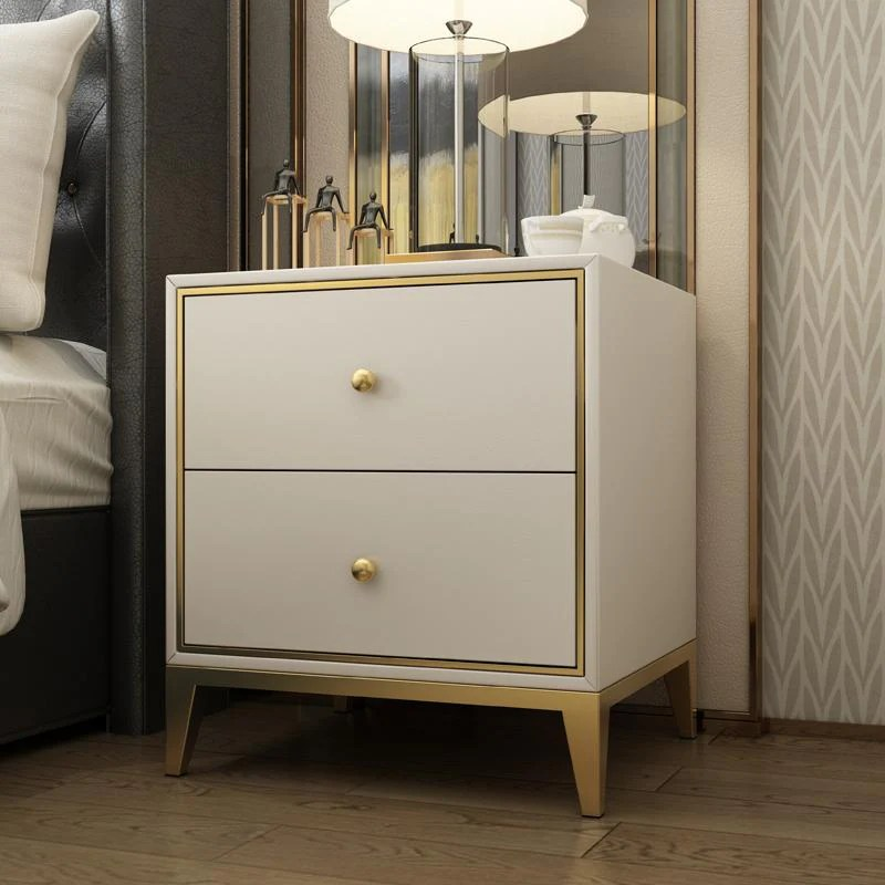 Modern Nightstand Side Table With 2 Drawers White Gold Decobuys