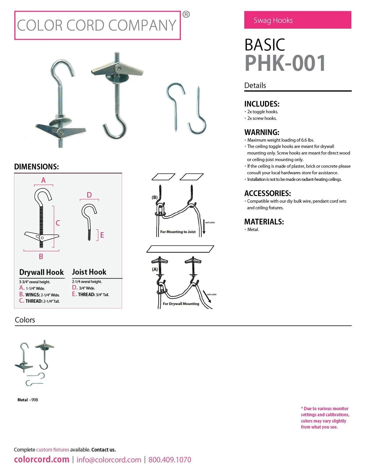 hight resolution of pendant hooks color cord company