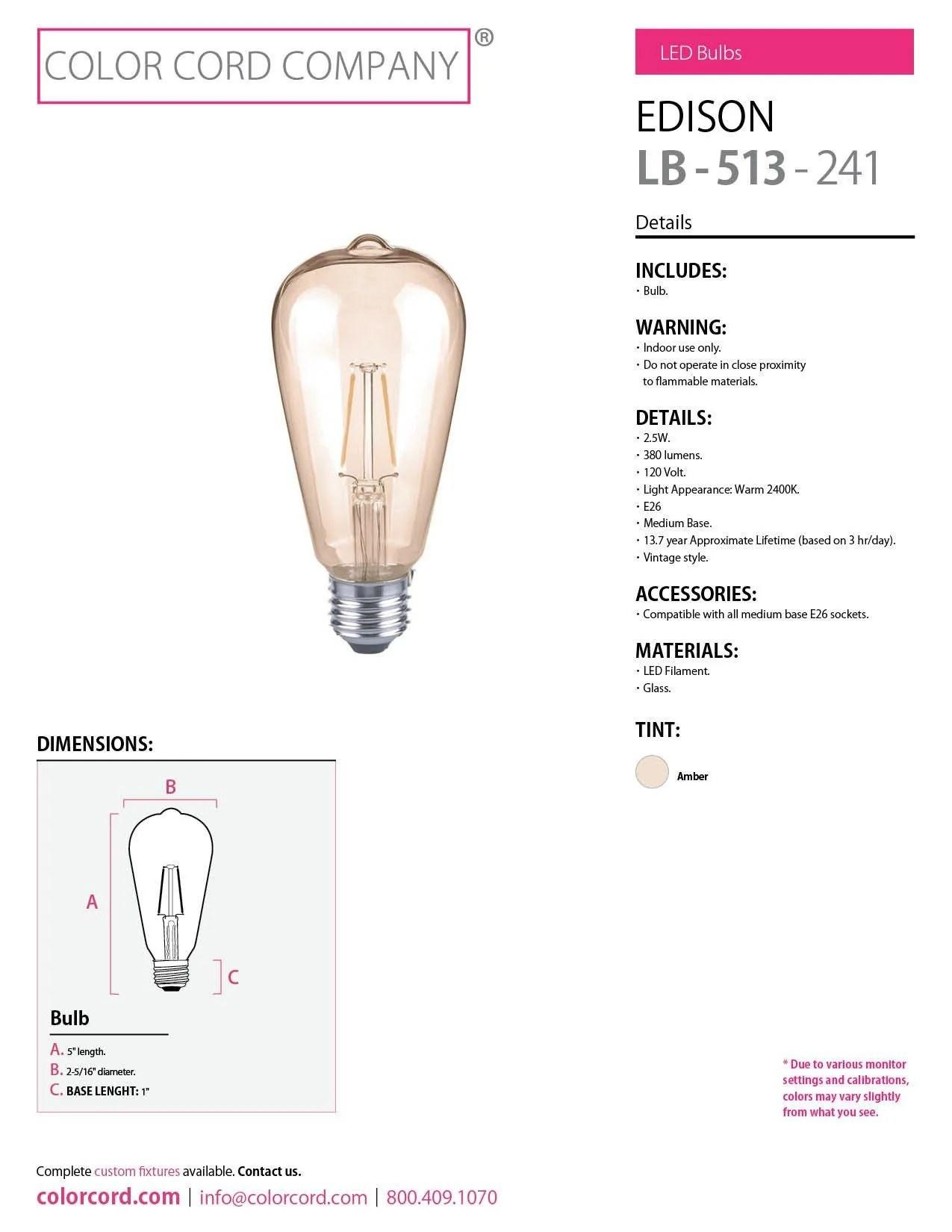 edison led bulb amber 2 5w  [ 1275 x 1650 Pixel ]
