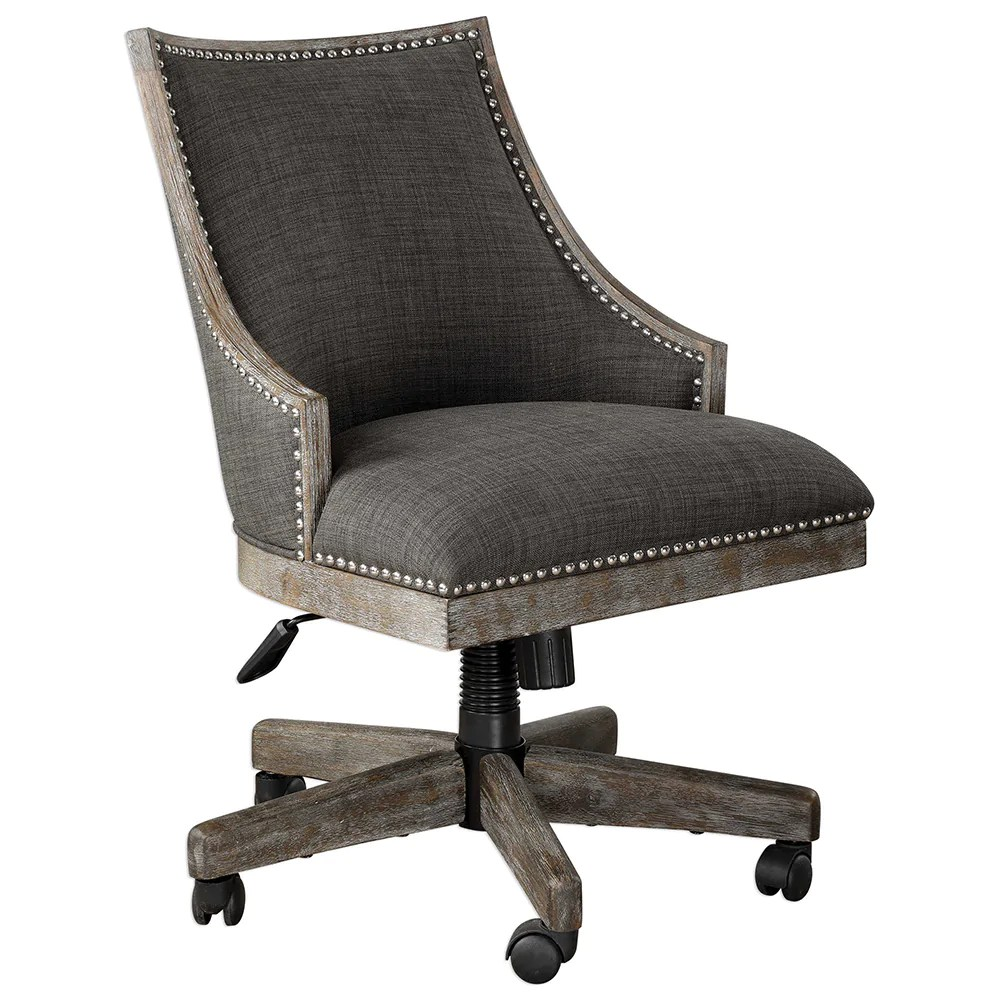 Linen Office Chair Charcoal Linen Upholstered Swiveling Desk Chair With Nailhead Trim
