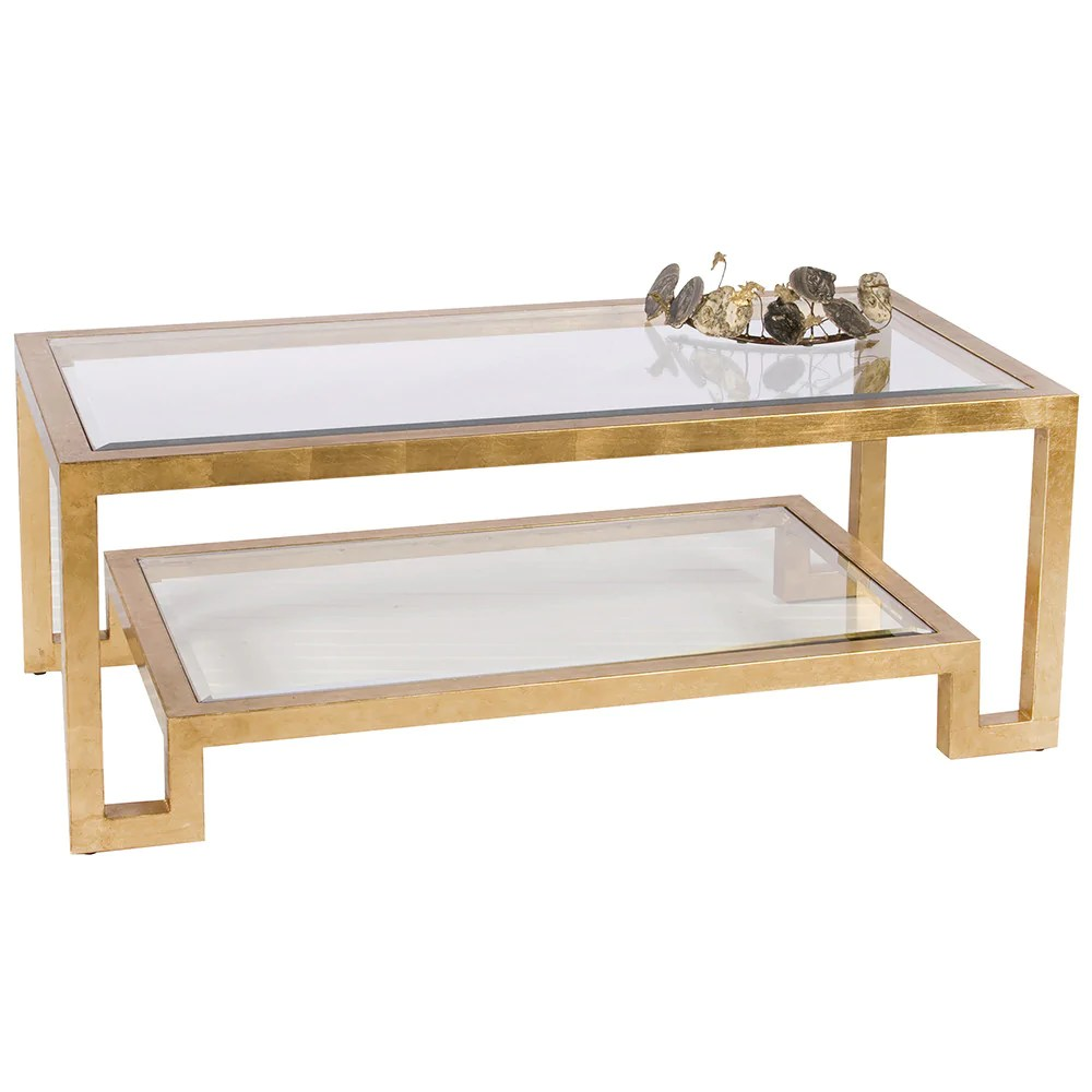 worlds away winston glass rectangular coffee table gold leaf