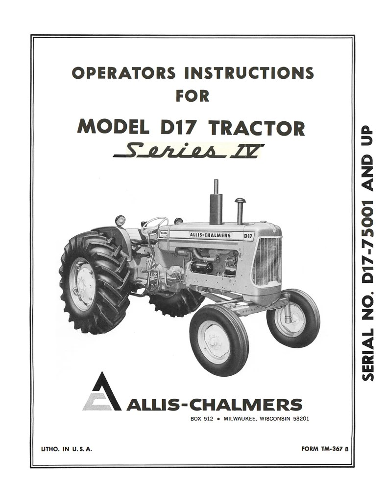 medium resolution of allis chalmers model d17 tractor series iv series four operator s manual ag