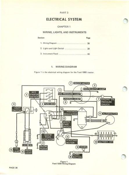 diesel engine alternator wiring diagram ford ranger 2016 1000 tractor - repair manual