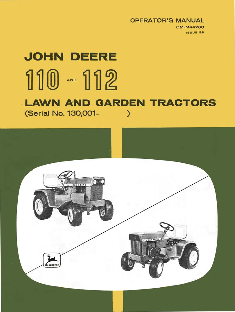 hight resolution of john deere 110 and 112 lawn and garden tractors operator s manual ag manuals