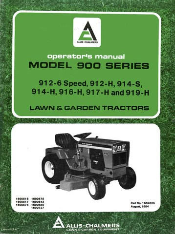 Allis Chalmers Model D17 Tractor Series IV (Series Four)  Operator's