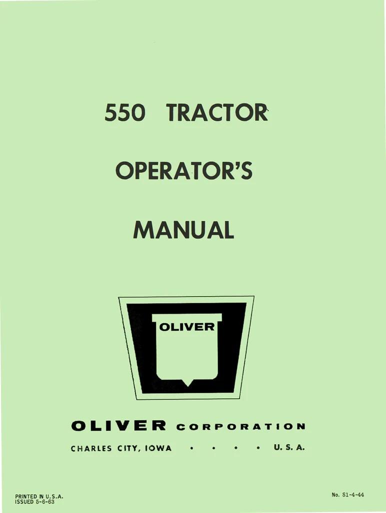 oliver 1850 tractor operator s manual rh agmanuals com [ 772 x 1024 Pixel ]