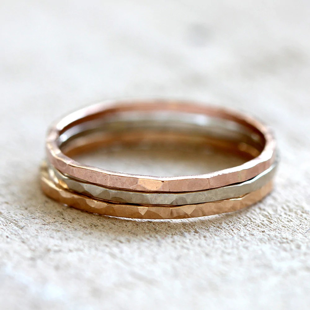 14k Gold Hammered Stacking Rings Set Of 3 - Praxis Jewelry