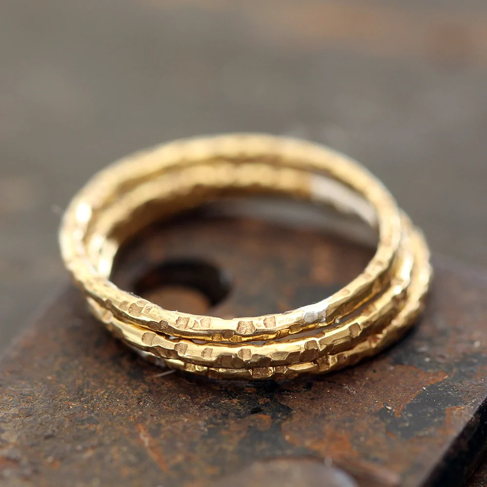 14k Gold Stacking Rings Textured Set Of 3 - Praxis Jewelry