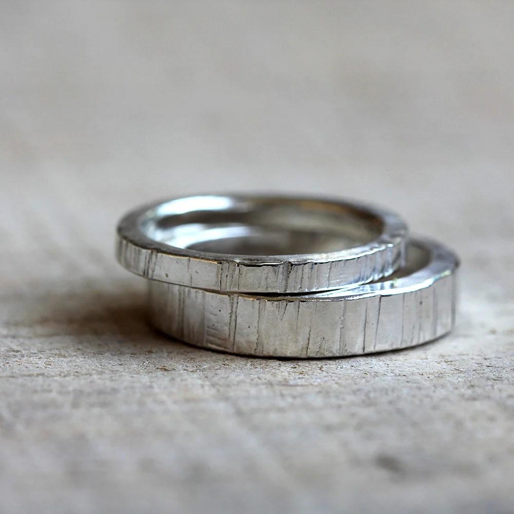 14k gold tree bark wedding ring set wedding band 14k tree
