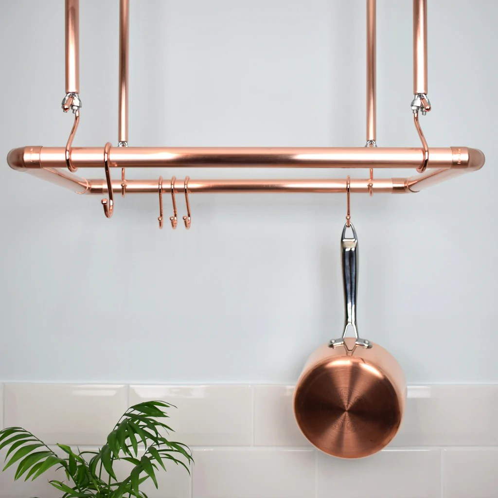 copper ceiling pot and pan rack