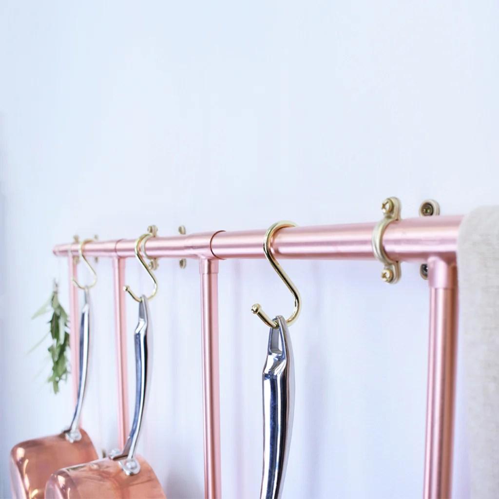wall mounted pot and pan ladder rack
