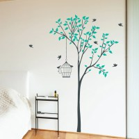 Tree With Hanging Bird Cage Wall Sticker   Wallboss Wall ...