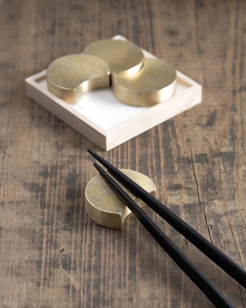 Brass Chopstick Rests - Four Moon – Nalata Nalata