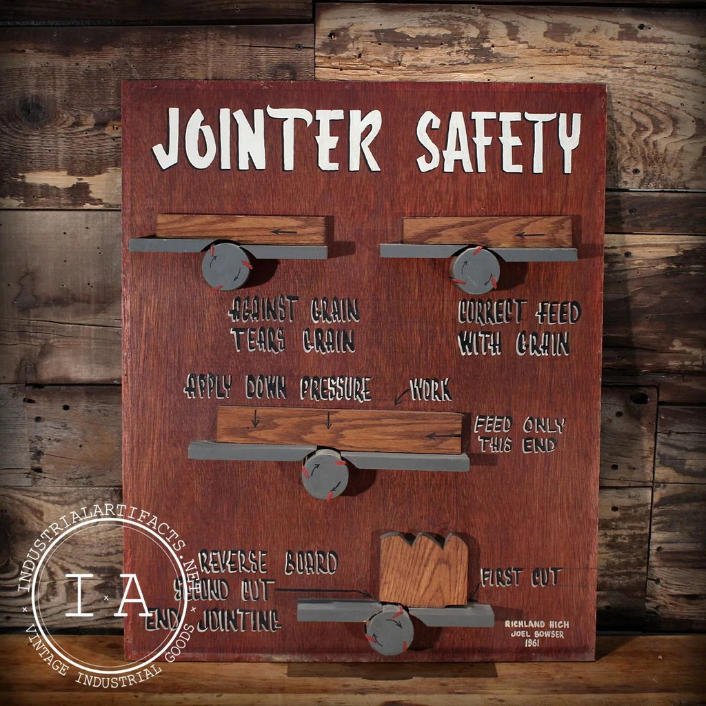 Vintage Industrial Jointer Safety Class Sign Chart Project 1950s Artifacts