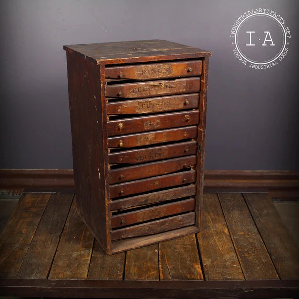 Vintage Industrial 11 Drawer Wooden Print Cabinet Parts