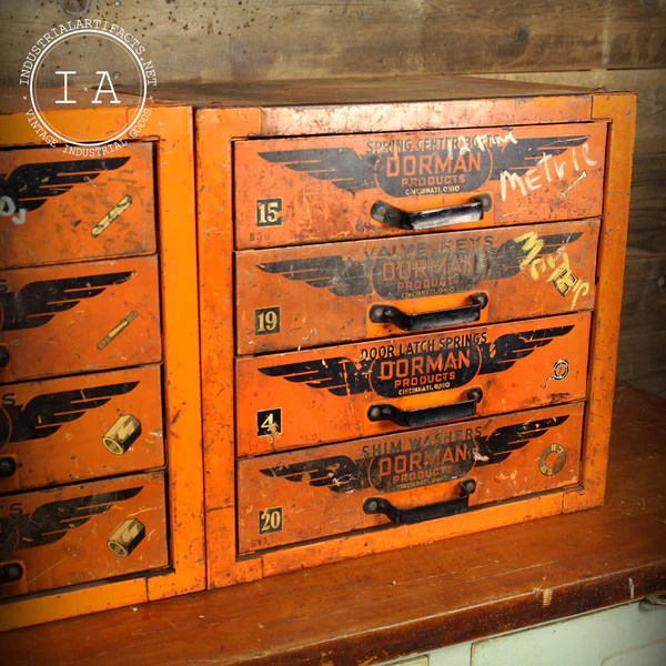 Vintage Industrial Orange Dorman Products 4 Drawer Parts