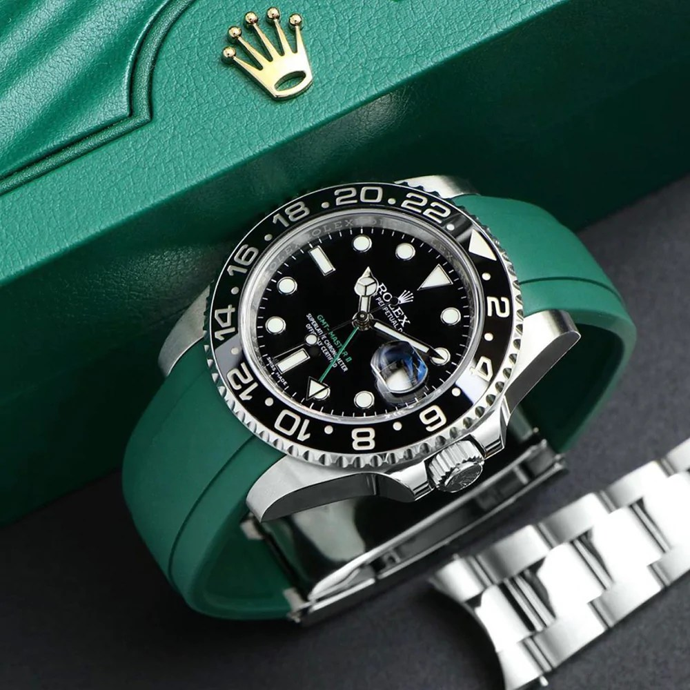 green rubber deployant strap from everest on a rolex gmt master 2