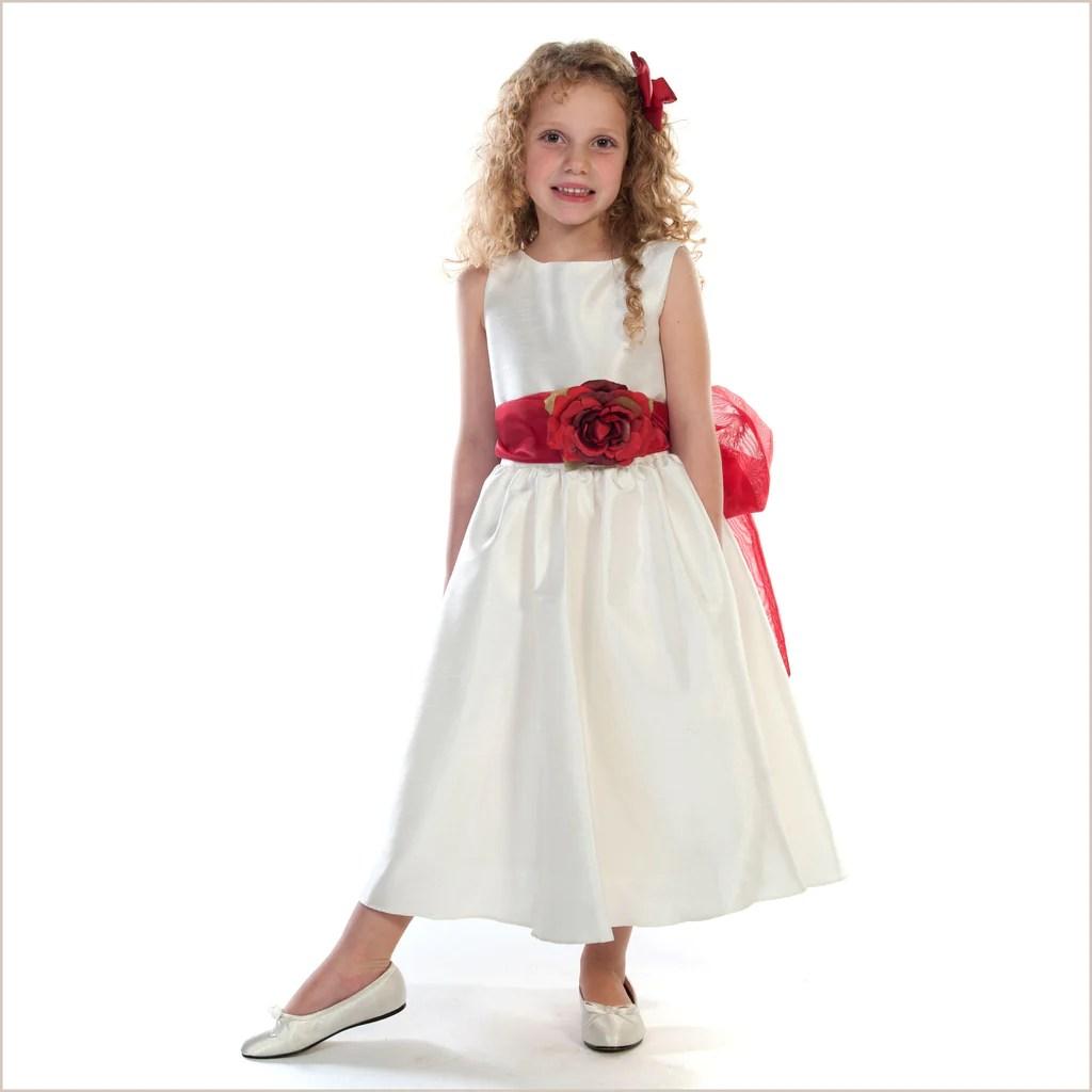 Ivory Flower Girl Dresses with Sash