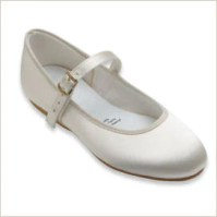 Ivory Flower Girl Shoes in Satin for children with strap