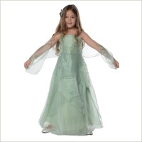Jessica Sage Green Long Organza Junior Bridesmaid Dress