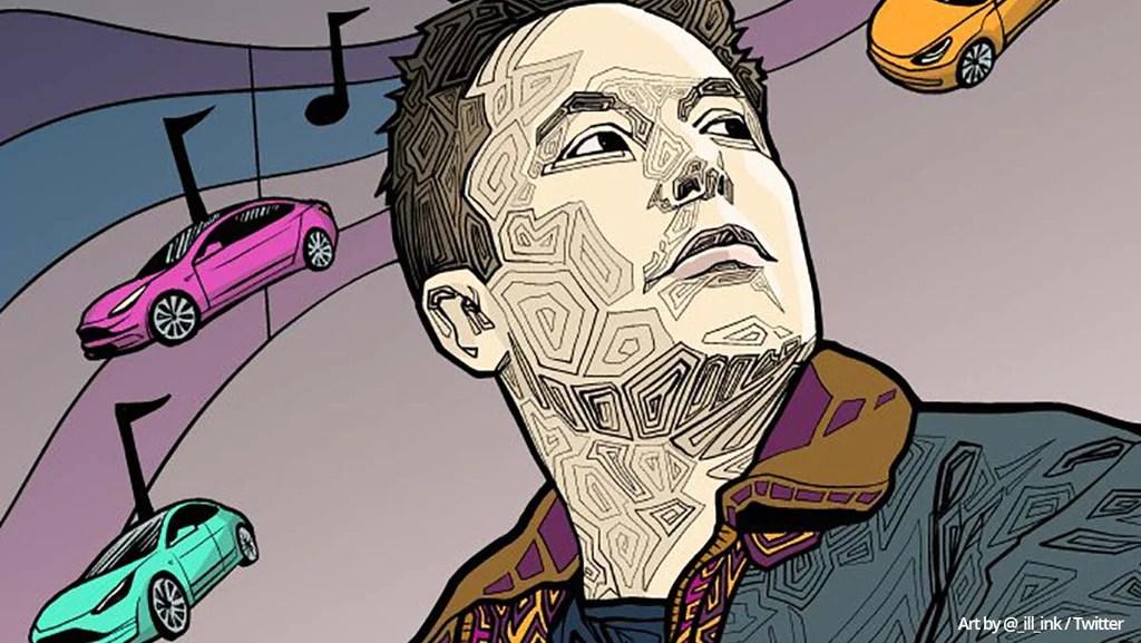 Elon Musk y Tesla en una ilustración.