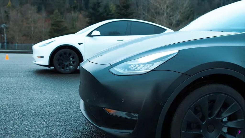 Tesla Model Y versus Model Y Drag Race.