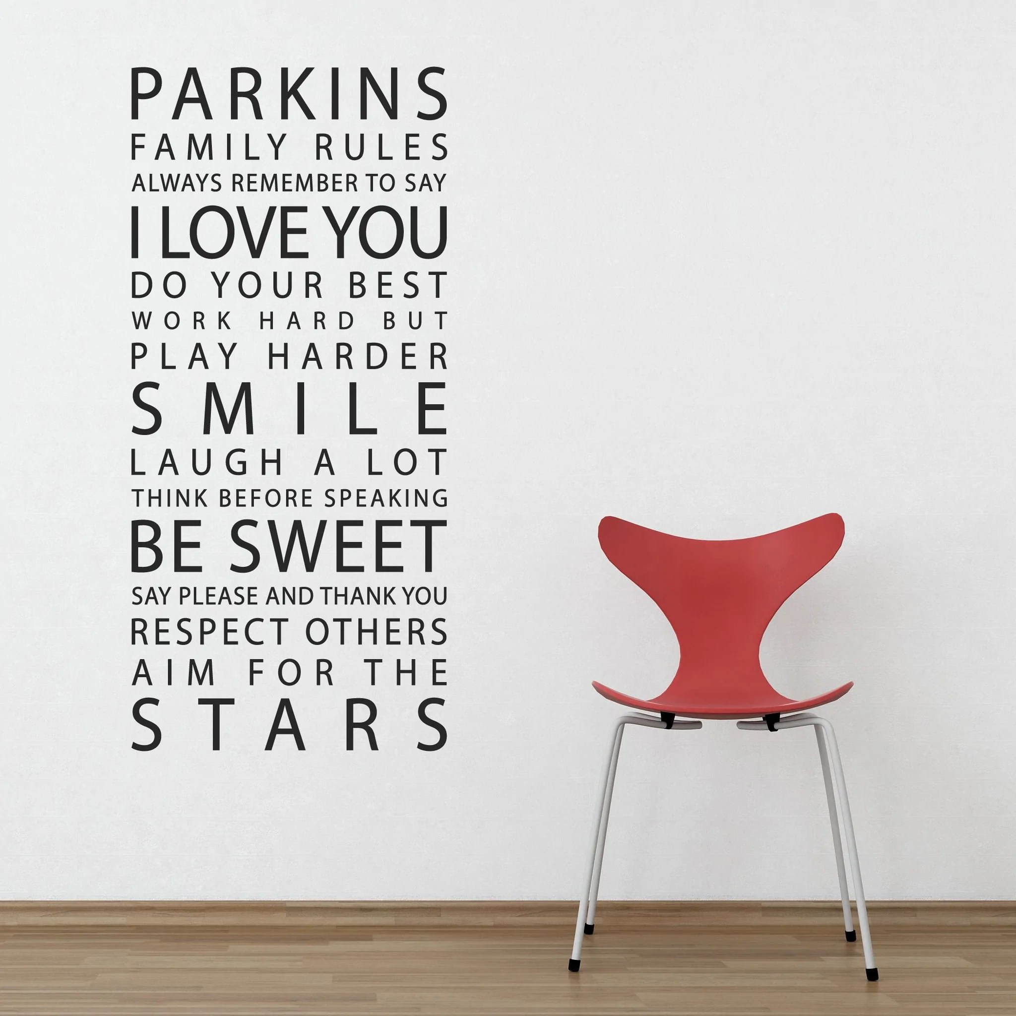 Personalised Family Rules Wall Stickers  Parkins Interiors