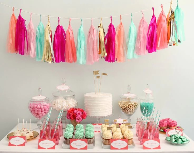 Tassel garland Dessert table backdrop