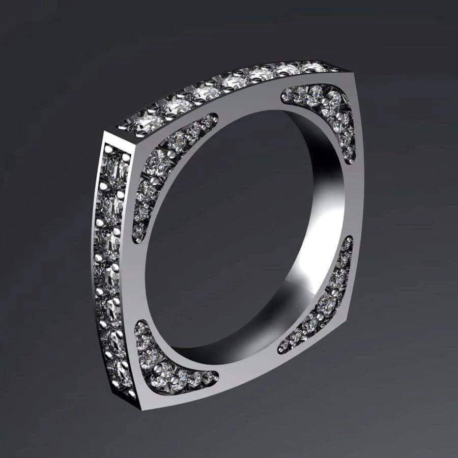 Kabbalistic Diamond Wedding Ring - Kabbalah Judaica
