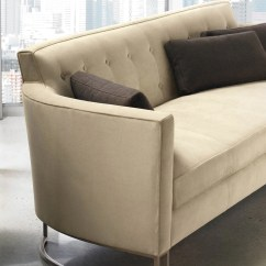 Modern Twine Curved Arm Sofa Black Leather Sleeper Walter Contemporary Max Sparrow