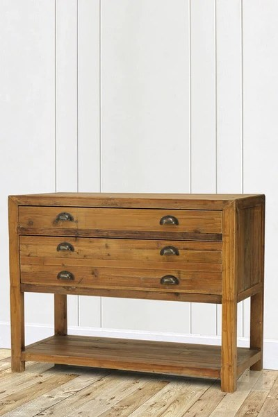 Benton Narrow Console Table With Draws Shelf Melbourne Fat Shack Vintage