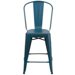 Counter Height Chairs With Back Infant Table And Industrial Bar Stools Tolix Style 24 High Distressed Kelly Blue Metal Indoor Outdoor Stool