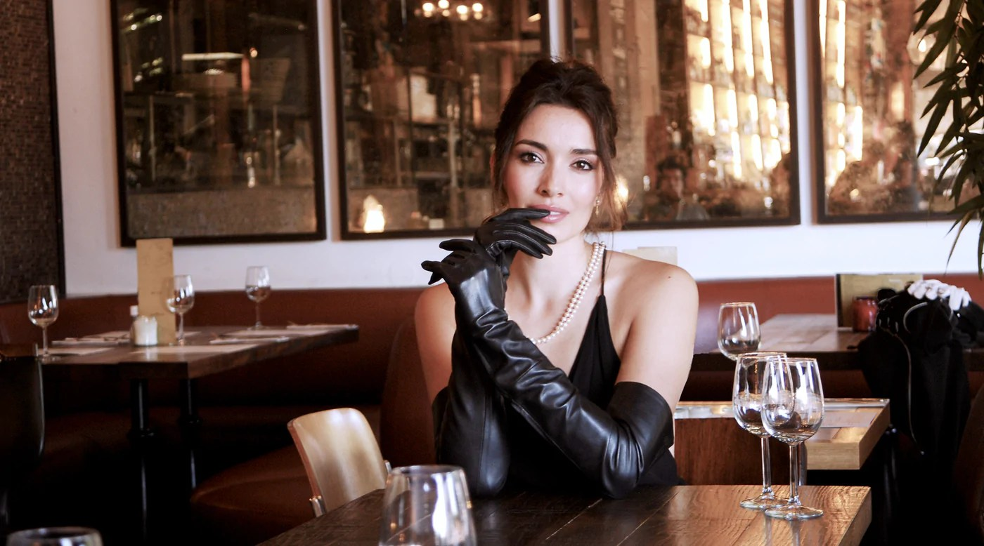 Elegant Long Leather Gloves by Ines