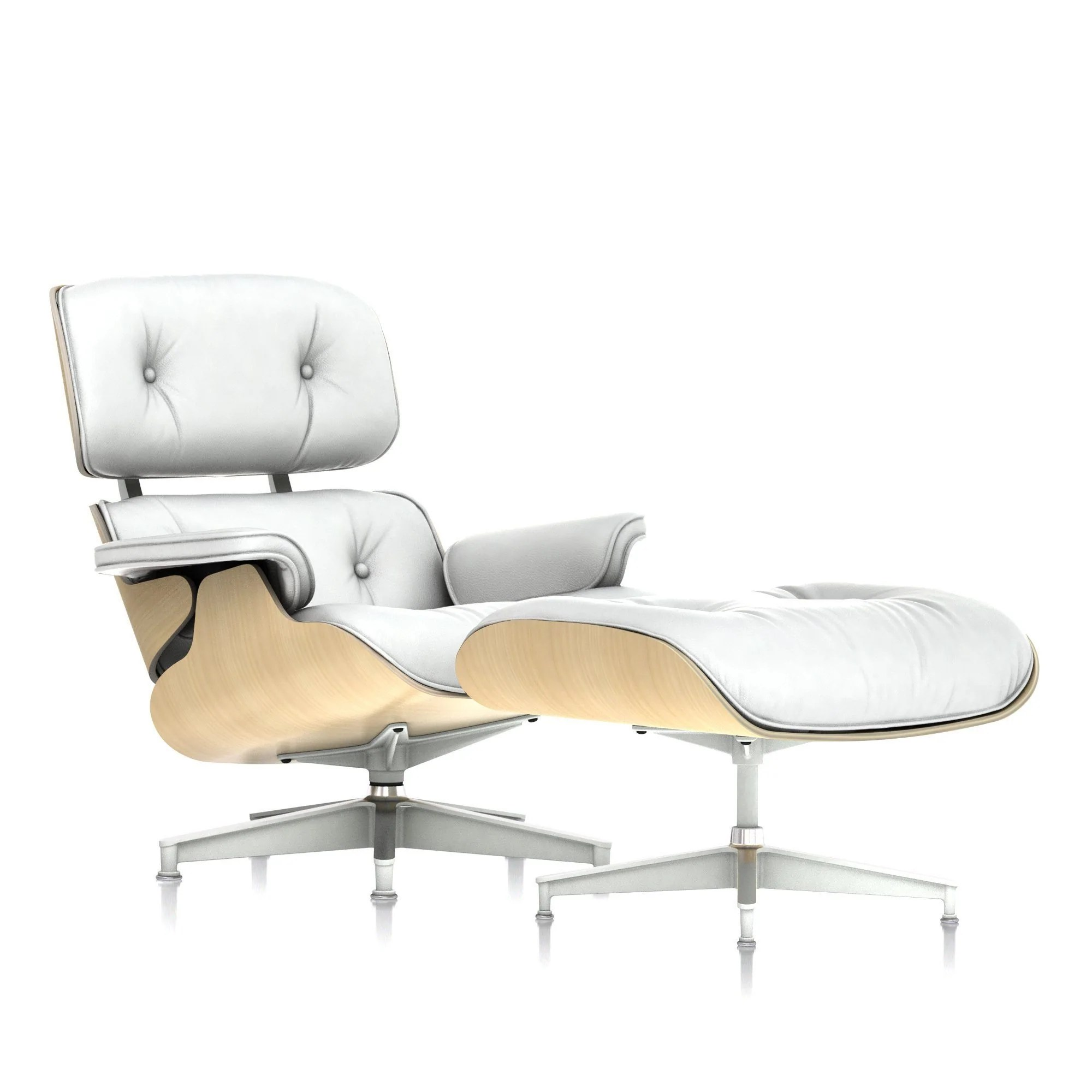 White Lounge Chairs Eames Lounge Chair And Ottoman In White Ash