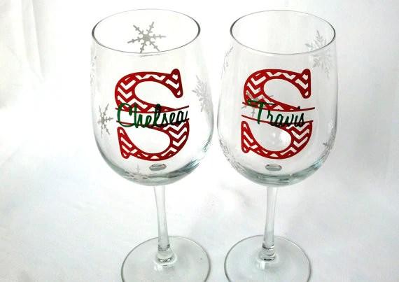 Christmas wine glasses 2 chevron monogram snowflake