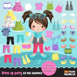 clipart doll paper mujka dressing party characters little graphics clothing license