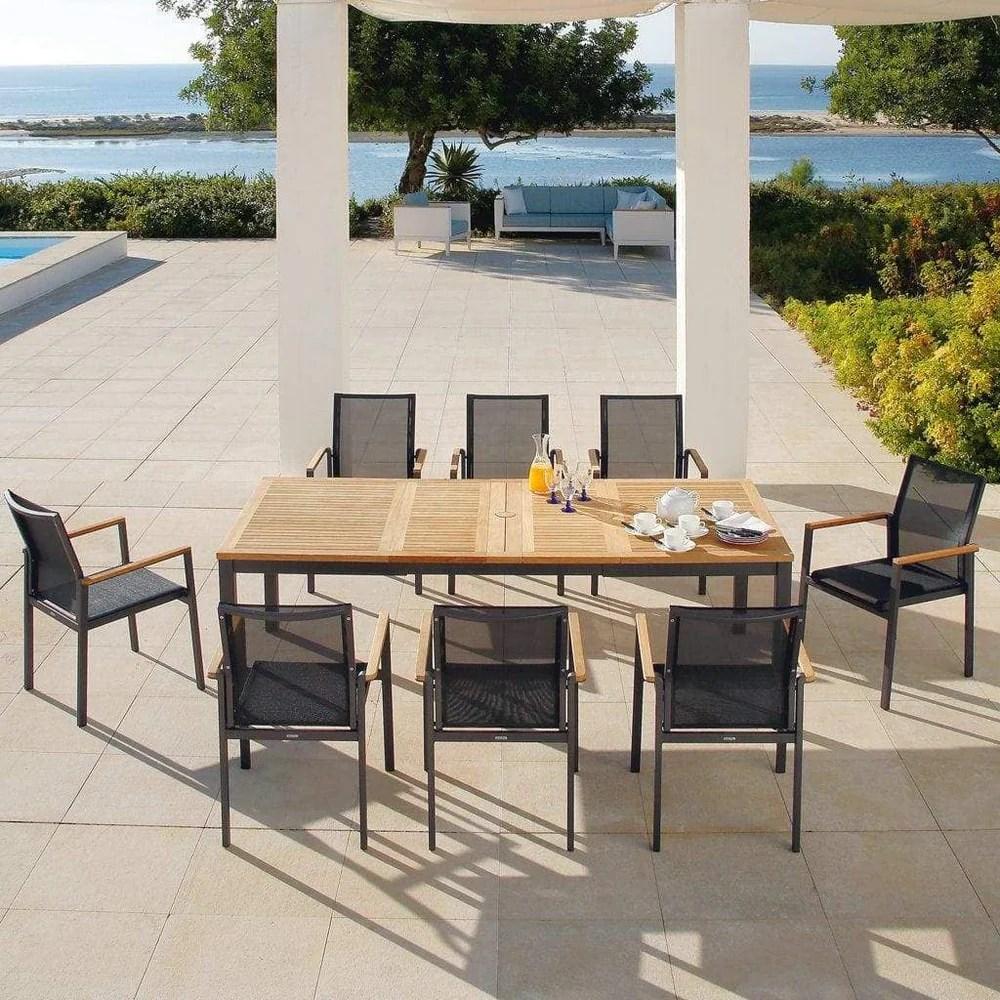 barlow tyrie aura aluminium and teak rectangle patio set
