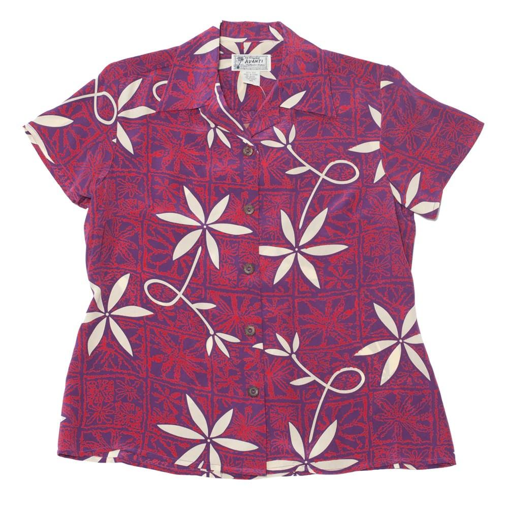 Women' Blue Hawaii Hawaiian Shirt - Red Avanti