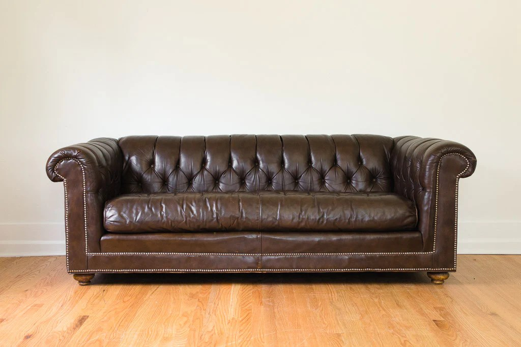 Bernhardt Leather Chesterfield Homestead Seattle