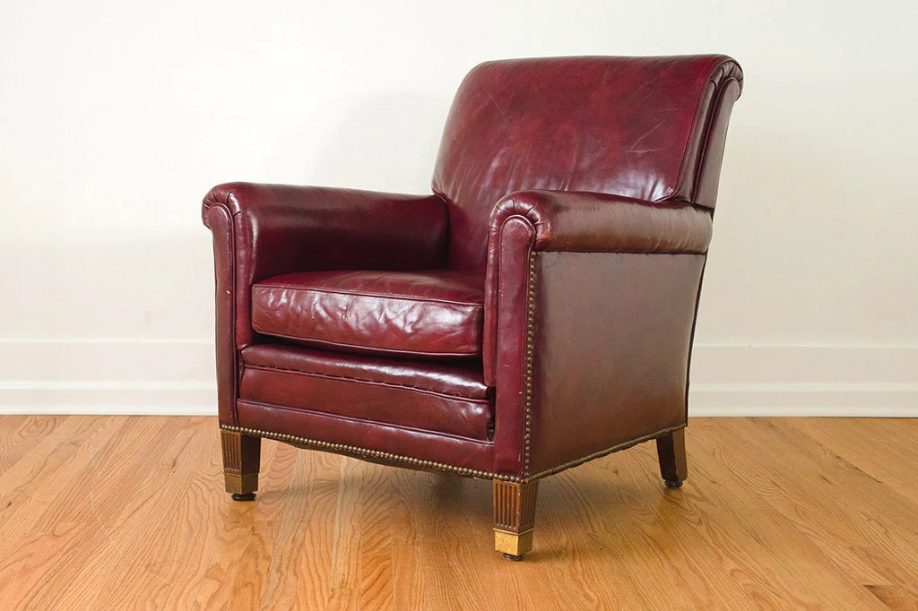 Burgundy Leather Club Chair  Homestead Seattle