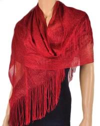 Red Metallic Shawl Wrap Party Scarf  Fashion Nouveau