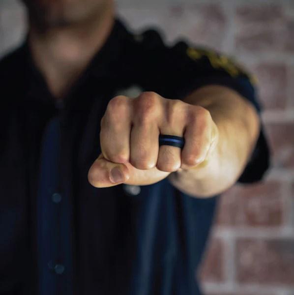 QALO Mens Black Silicone Ring  Patriot Tactical