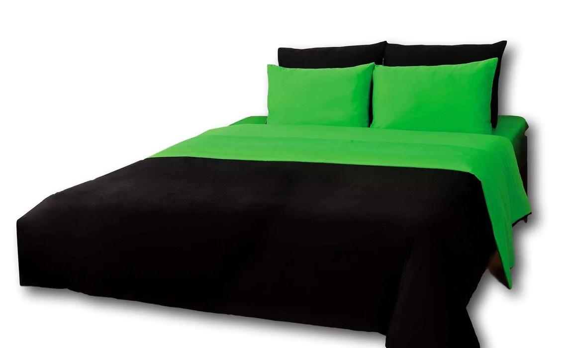 tache cotton reversible lime green black comforter set with zipper