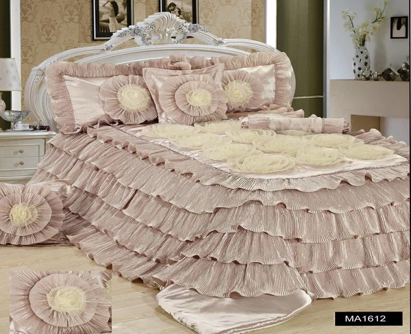 Tache 6 Piece Luxury Beige Cinnamon Chai Ruffled Comforter