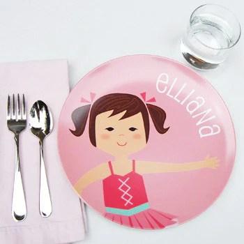 personalized childrens plate | ballerina