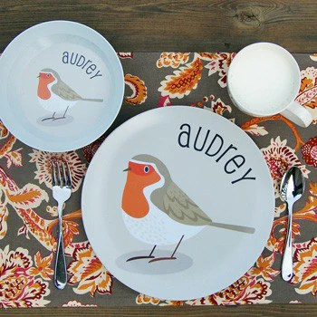 personalized kids plate | bird
