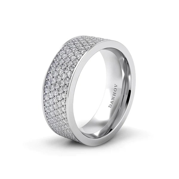 Wide Pave Diamond Wedding Band In Platinum Or White Gold