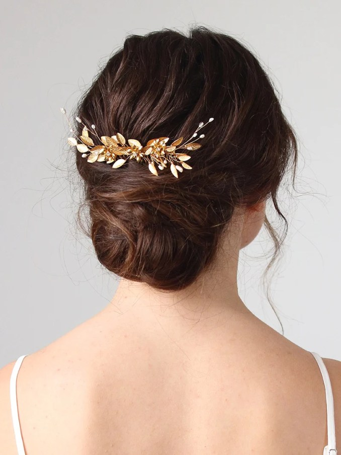 gilded leaf and pearl hair comb   bridal accessory   indra