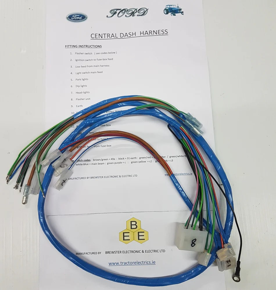 medium resolution of centre dash harness for ford tractor