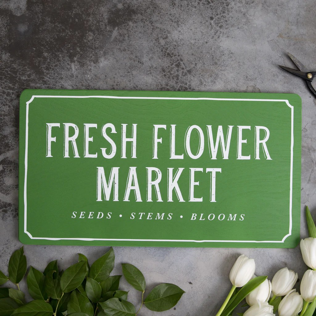 Fresh Flower Market Sign Year Of Clean Water